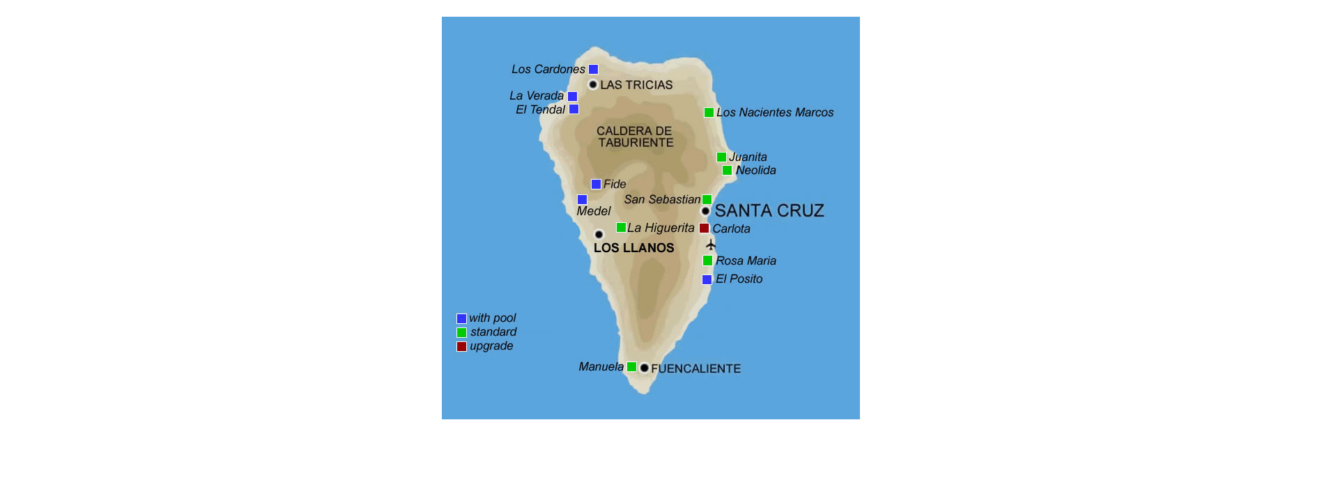Map of cottages on La Palma | Inntravel